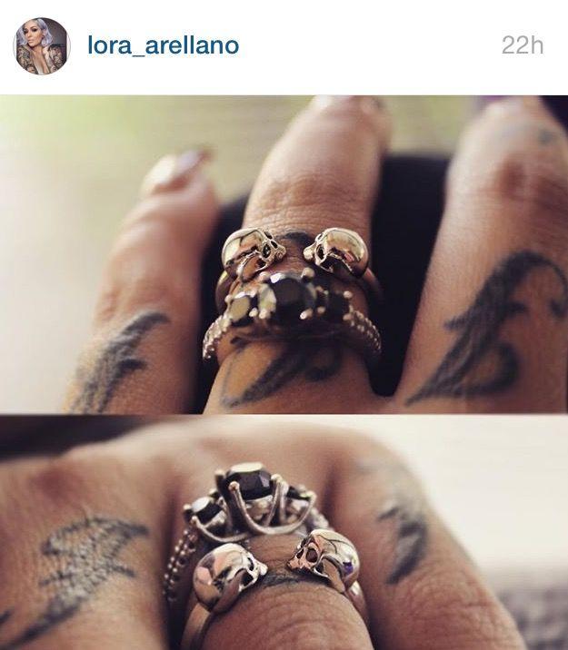 Lora Arellano wedding ring & iz&co skull ring