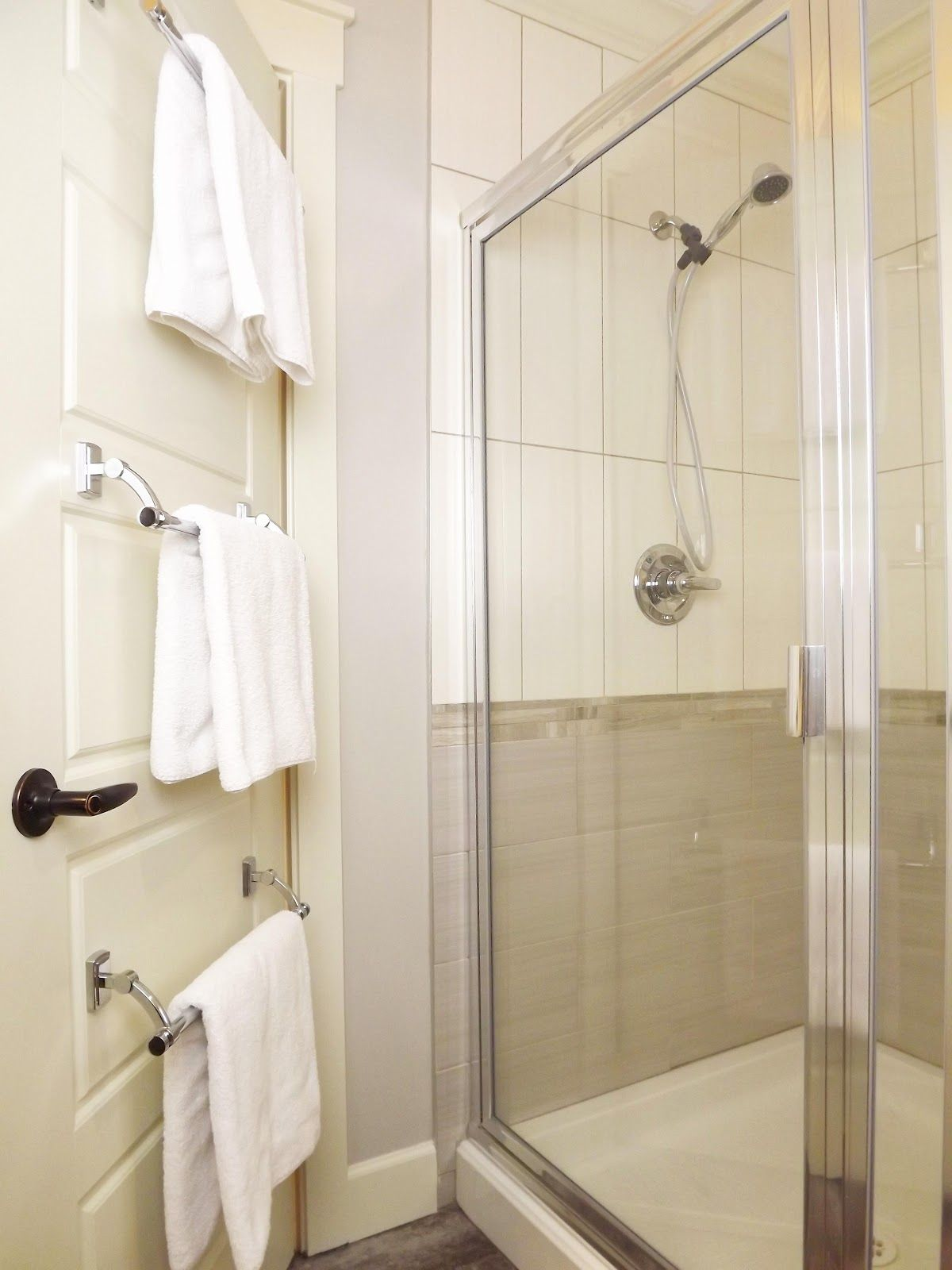 If You Have A Solid Wood Door You Can Put More Than One Towel Bar - Towel holders for small bathrooms for small bathroom ideas