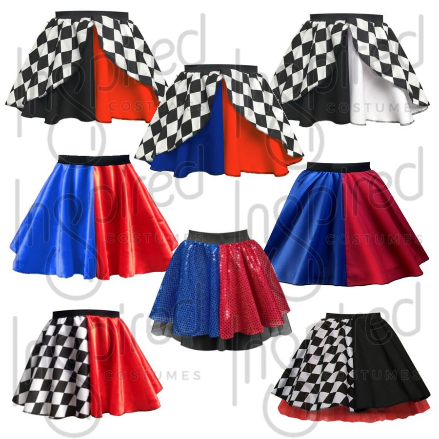 Girls Kids HARLEY QUINN Halloween Costume Skirt FANCY DRESS Jester Harlequin