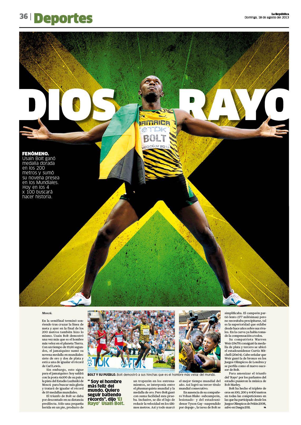 Usain Bolt. Página abridora de la sección de deportes de el diario ...