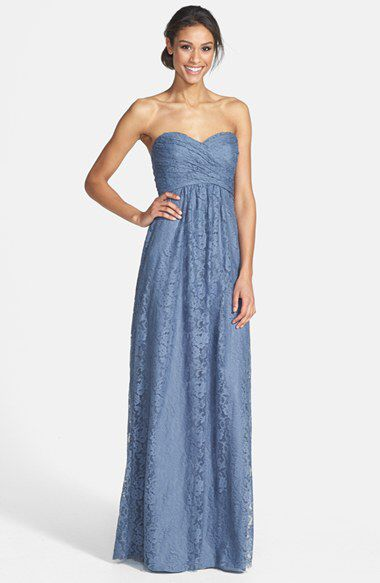 Amsale Amsale Pleated Lace Sweetheart Gown available at #Nordstrom ...