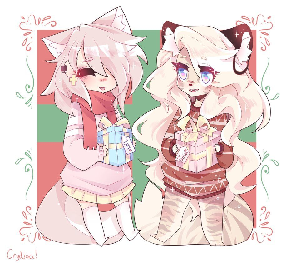 Christmas with Cry and Shiwa ! by crydiaa Furry drawing