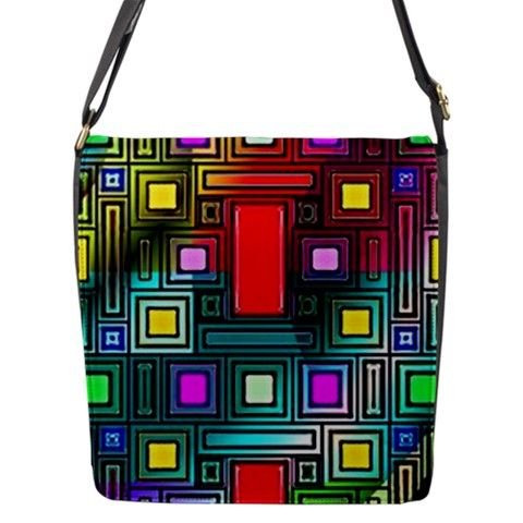 Abstract Modern Flap Closure Messenger Bag (Large)