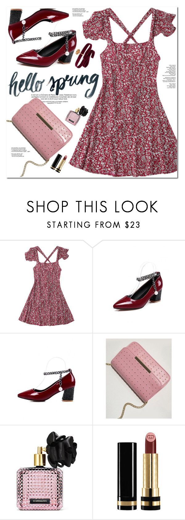 """Hello Spring"" by oshint ❤ liked on Polyvore featuring Victoria's Secret, Gucci and Diego Percossi Papi"
