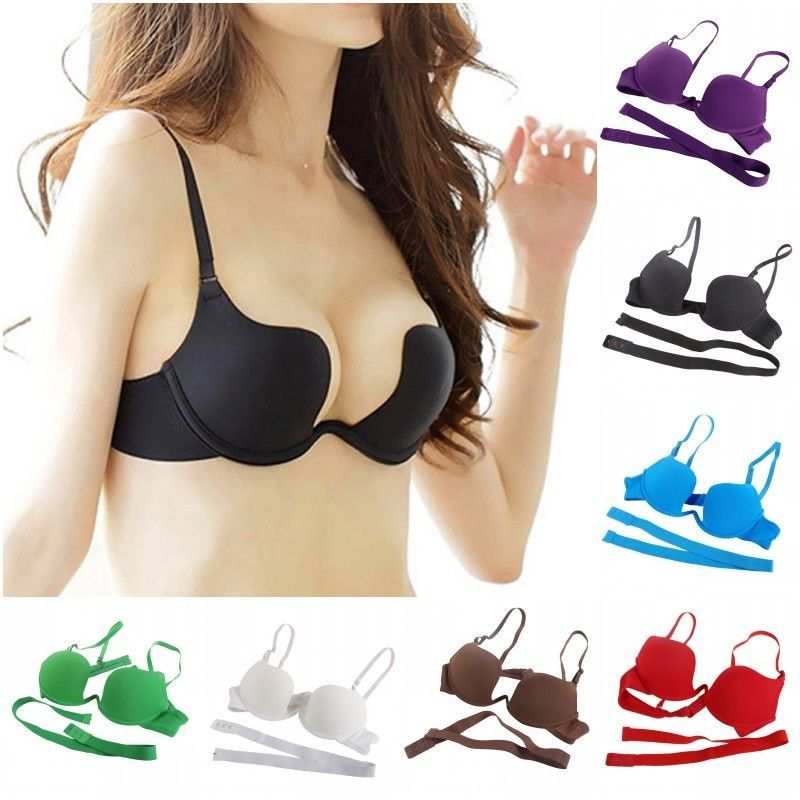 a19741b754 Deep Plunge Low Back Convertible Womens Thick Padded Extreme Push Up 2 Cups  Bra