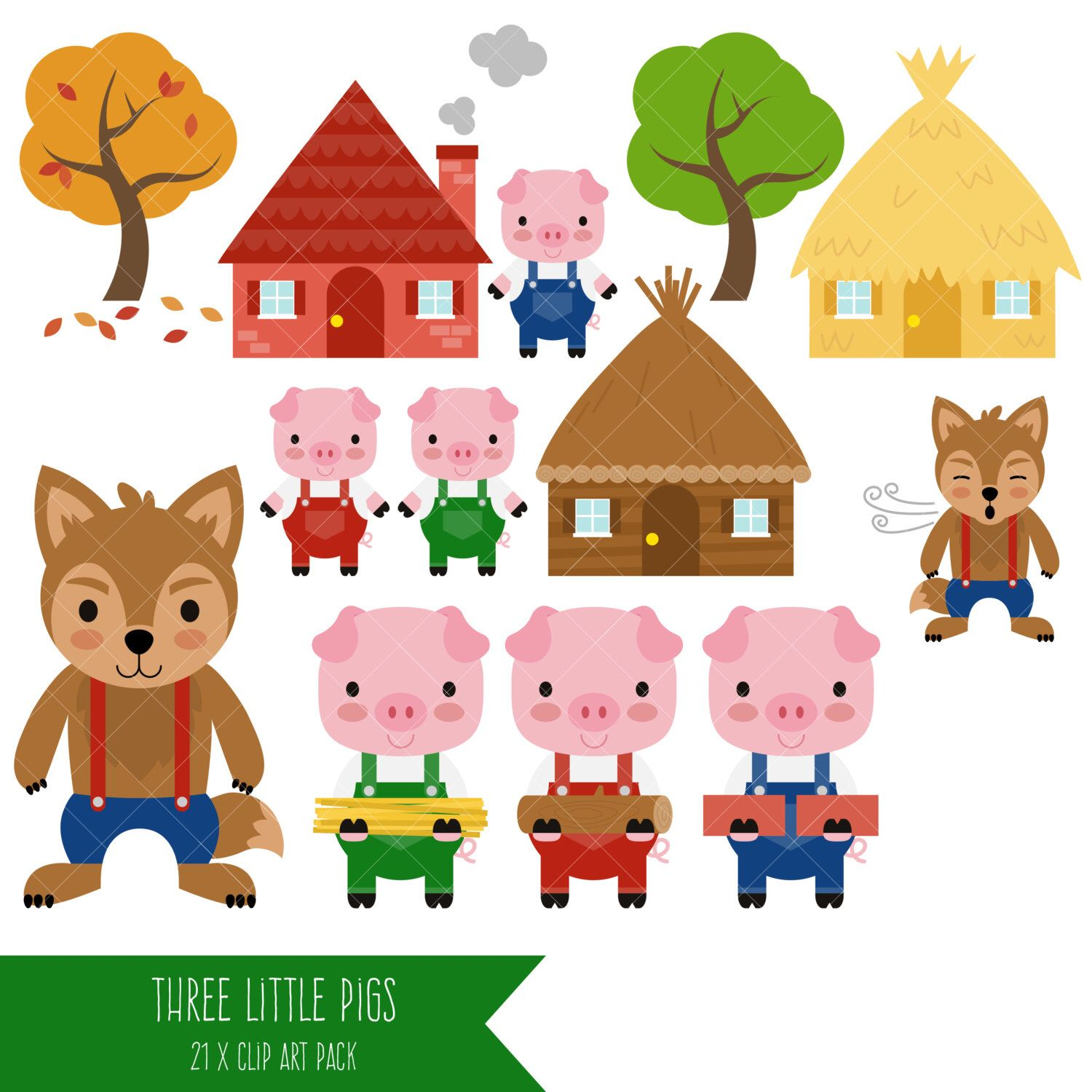 three little pigs clipart big bad wolf clip art by clipartisan on etsy https  [ 1500 x 1500 Pixel ]
