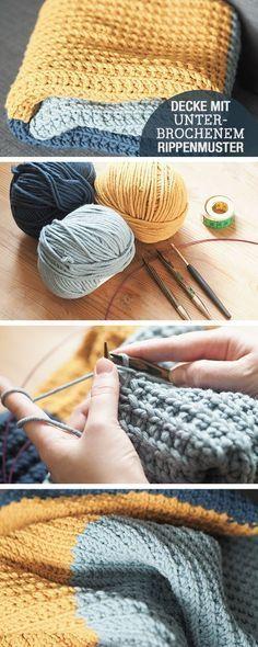 Instructions de tricot: couverture de bébé en tricot avec motif de côtes cassées / tricot diy …   – Stricken