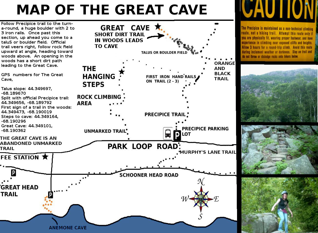The Great Cave phantom trail - Acadia National Park. An unmarked ...