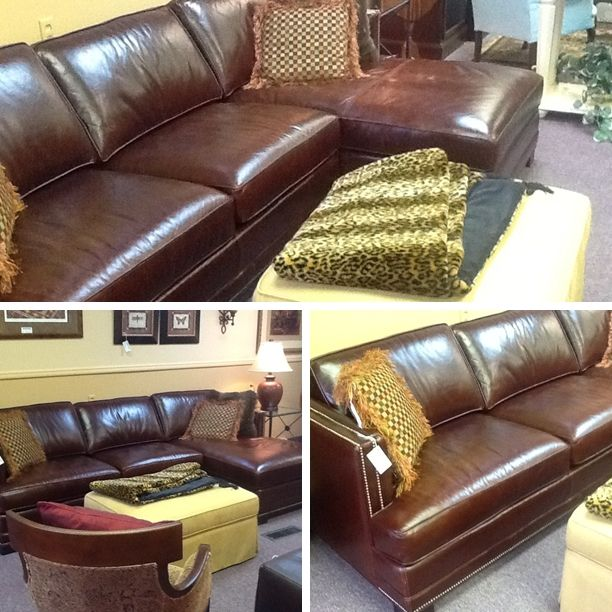 Beautiful Leather Sofa with Chaise! Bench made! | Linda Mac & Company - Orchard Park, NY