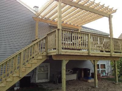 Pergola On Existing Deck Plan With Simple Colored Design Wooden Stylish Creative Sample Unique Upstairs Decorate Insert