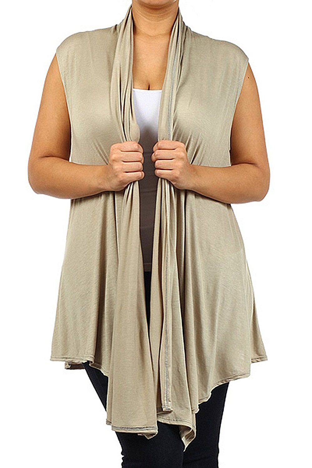Womens Plus Size Waterfall Open Front Draped Sleeveless Cardigan ...