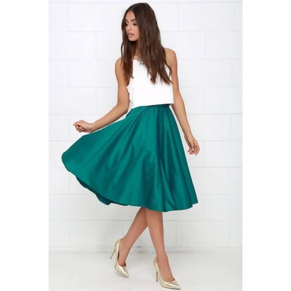 Bundle Lulu's Satin Midi Skirt + Red Flare Jeans Adorable green midi skirt from lulus! Worn only once for about 2 hours, in brand new condition. Sold out online. Lulu's Skirts Midi
