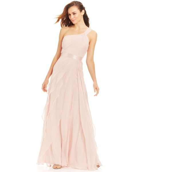 Adrianna Papell One-Shoulder Tiered Chiffon Gown ($199) ❤ liked on ...