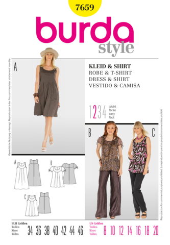 Burda Pattern: BD7659 Misses Dress & Shirt | Easy — jaycotts.co.uk ...