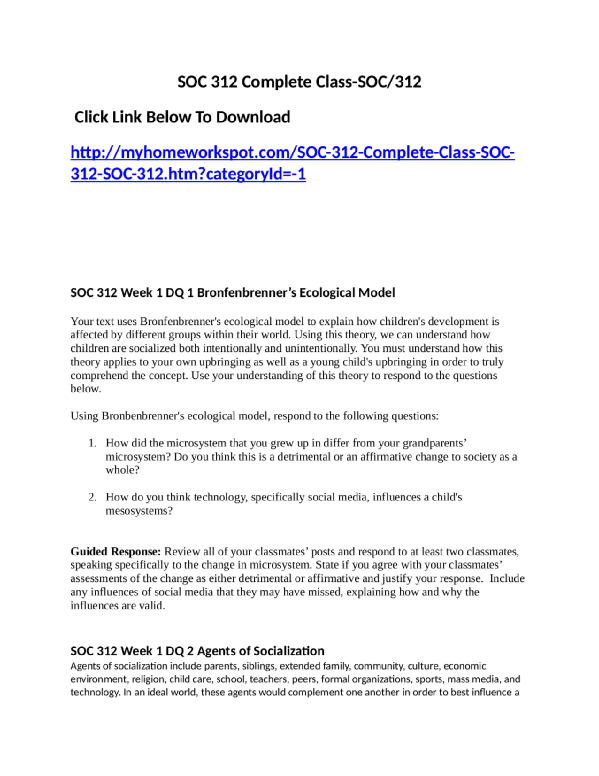 SOC 312 Complete Class Click Link Below To Download Myhomeworkspot 312htmcategoryId 1 Week
