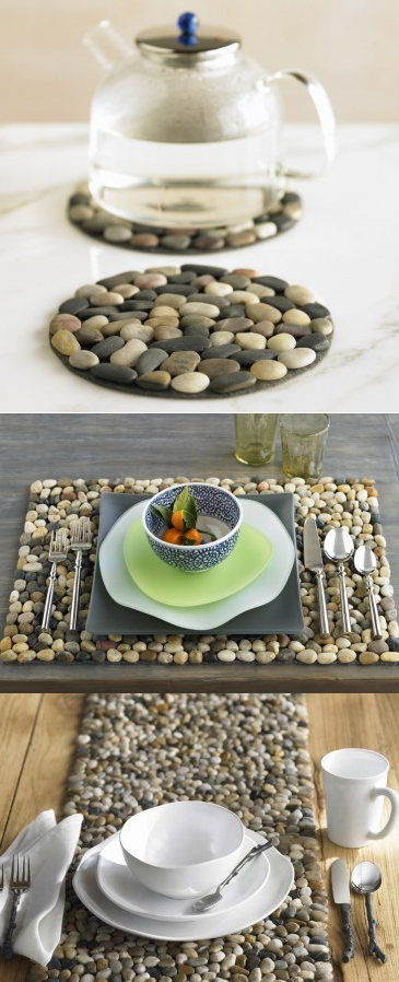 Glue Stones Onto Felt To Create A Trivet, Placemat, Or Table Runner. Http