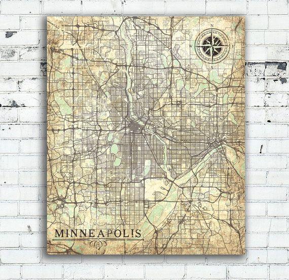 MINNEAPOLIS MN Canvas Print Minnesota Vintage map Minneapolis Mn ...