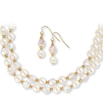 Gold-Plated Crystal and Pearls