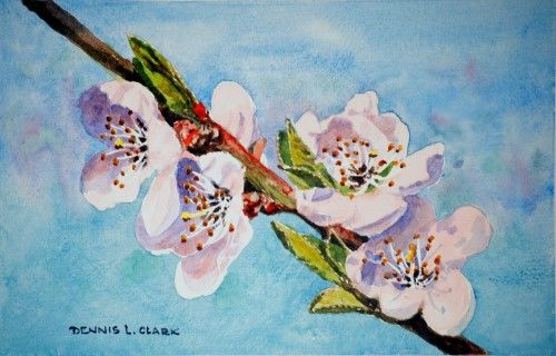 Free Watercolor Tutorial How To Paint Peach Blossoms In