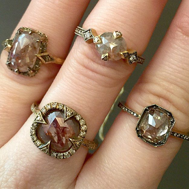 Alternative rustic diamond solitaire engagement rings by Cathy