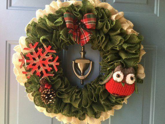 weihnachtskranz  haustür kranz  eule kranz  rustikale