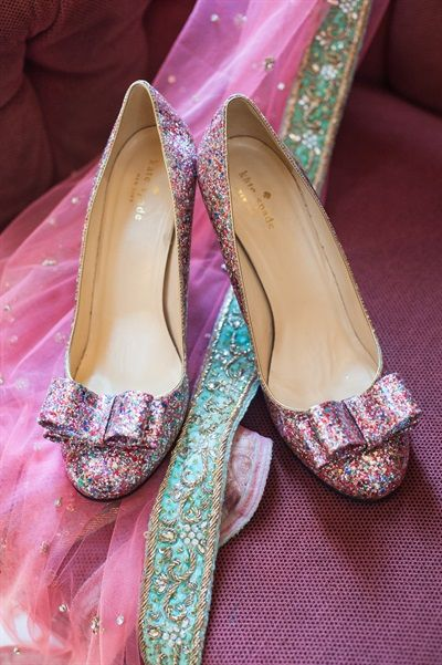 kate spade sparkly shoes | Caroline & Sanket's Sparkle Pink & Mint Green Fusion Wedding {New York}
