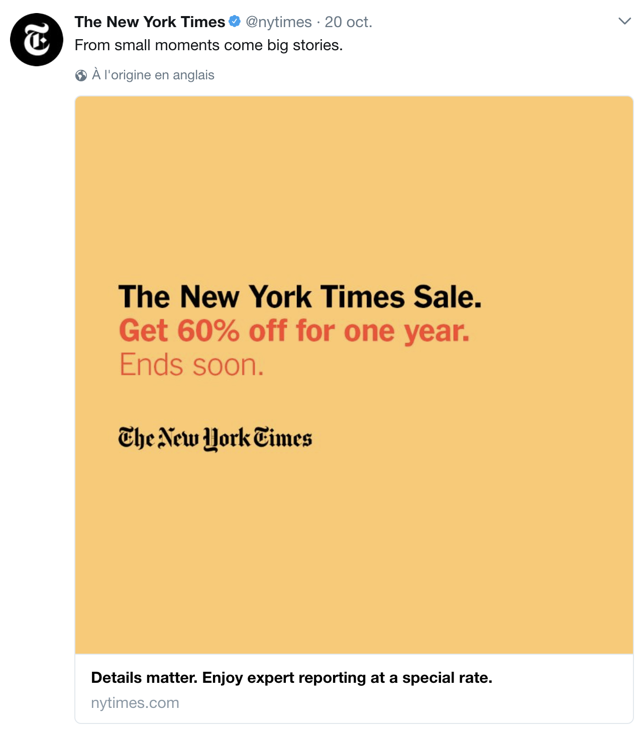 The New York Times Sale From Small Moments Come Big Stories Details Matter Enjoy Expert Reporting At A Special Rate Oct 2017 Anglais