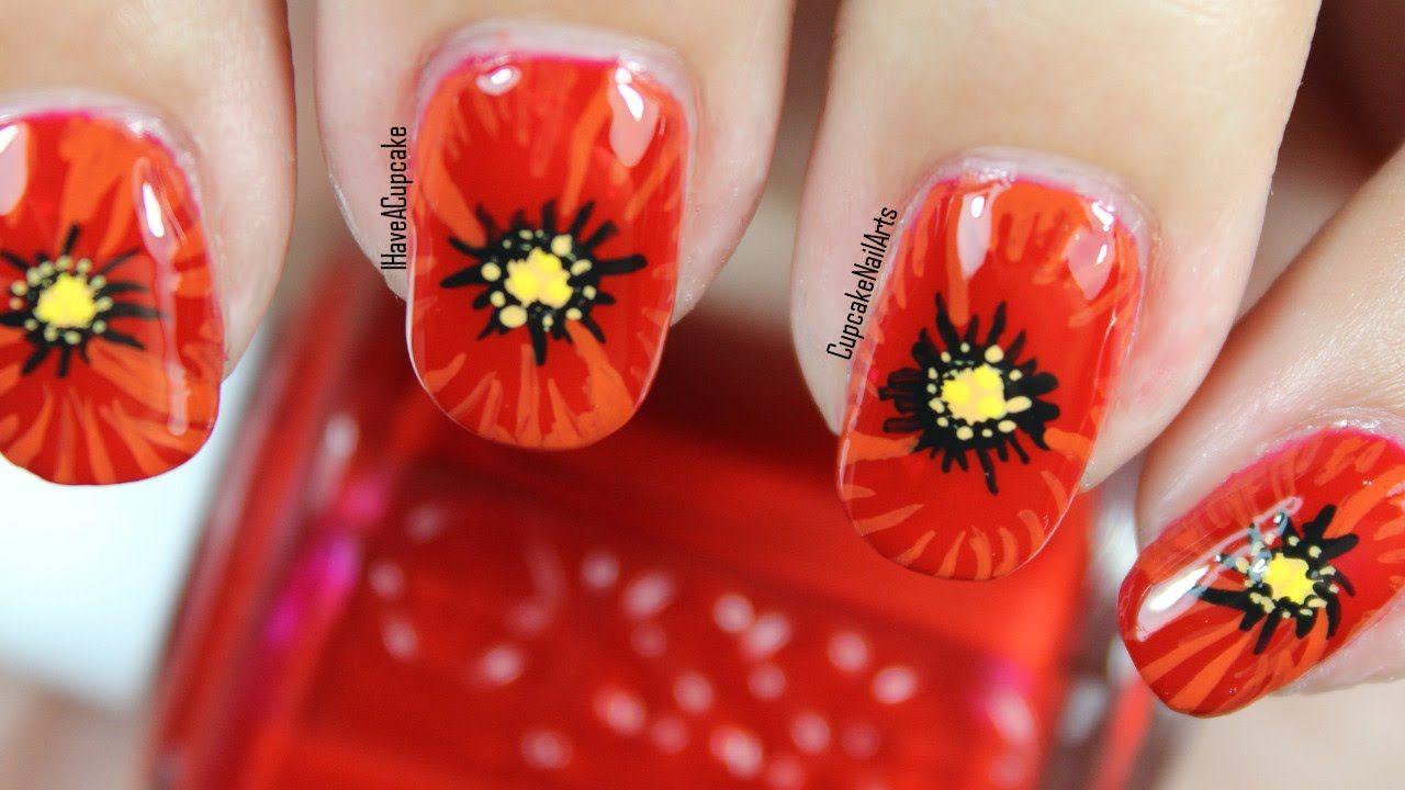 Close Up Poppy Nail Art #nailart #flowers | Nail Art: Inspiration ...