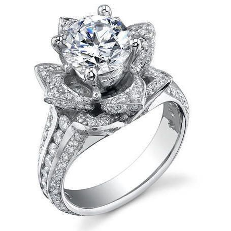 1 37 Ctw Blooming Beauty Rose Flower Ring Angled Flower Engagement Ring Unique Engagement Rings Flower Wedding Ring