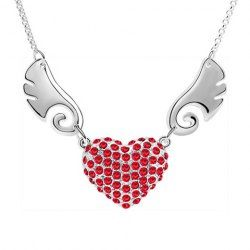 $2.53 Chic Rhinestoned Wing Decorated Heart Pendant Necklace For Women
