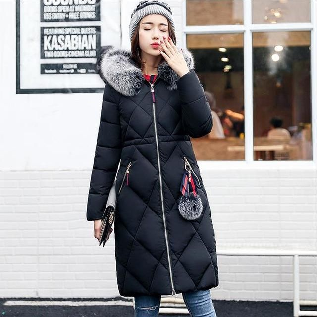 d57bacd3a Long Parkas Women Large Fur Collar Hooded Jacket Warm Winter Outwear ...