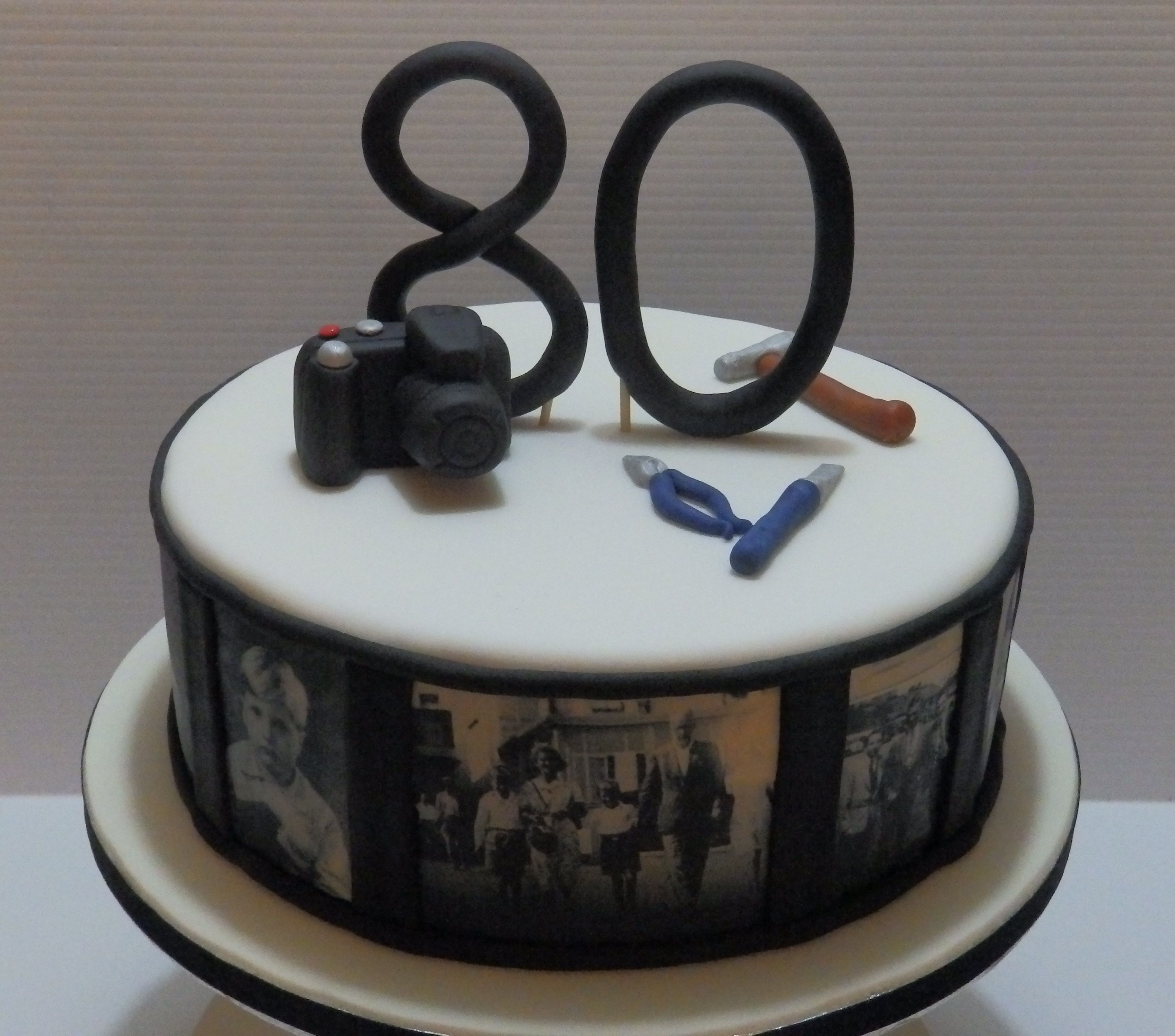 80th Birthday Cake With Edible Photo Images Of The Birthday Boy