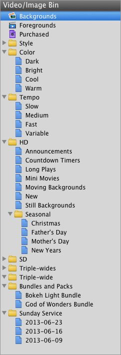 ProPresenter folder and playlist organization structure