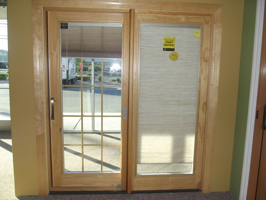 Attractive SHADES INSIDE WINDOWS SLIDING DOOR | ... Wood/Clad French Sliding Patio Door  With Blinds Between The Glass