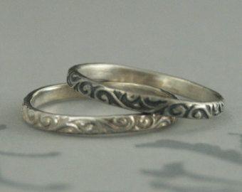 Skinny Flourish Band Sterling Silver Stacking Ring Wedding
