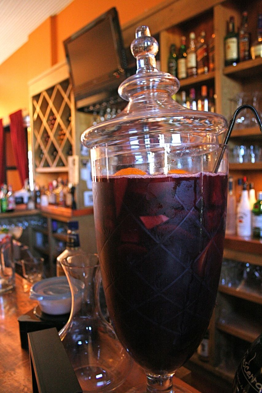 Our famous secret recipe red wine sangria....you can't drink just one glass!