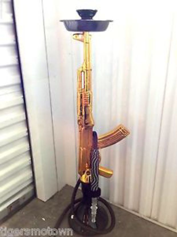 GOLD Authentic AK47 Hookah Shisha Nargila AK 47 Style Styrofoam