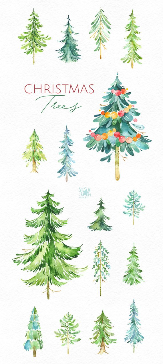 Christmas Trees 2 16 Watercolor Holiday Clipart Winter Vintage