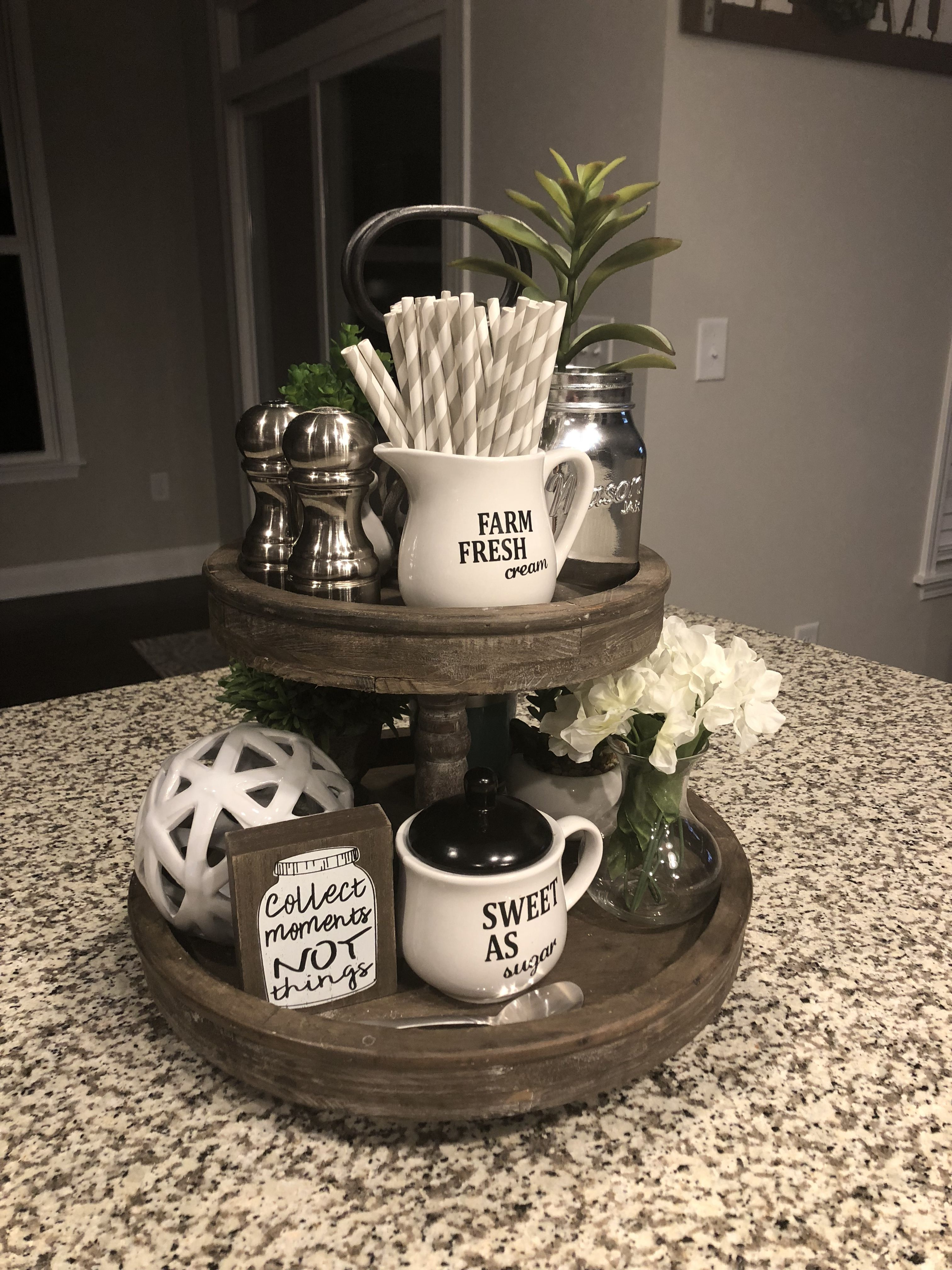 3 Home Decor Trends For Spring Brittany Stager: Target Rustic 2 Tier Tray. Farmhouse Kitchen Decor