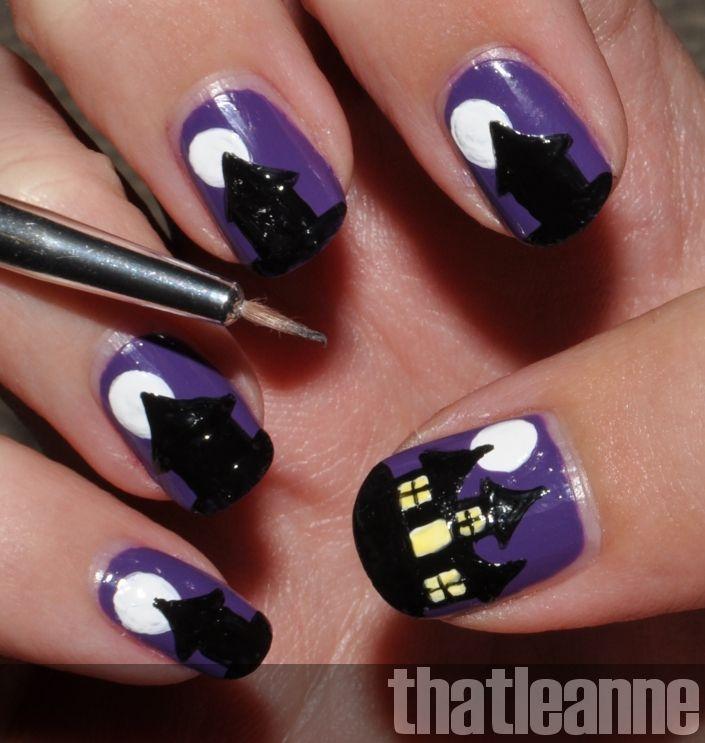 Thatleanne Spooky Haunted House Nail Art For Halloween Halloween Nail Designs Holloween Nails Holiday Nail Art