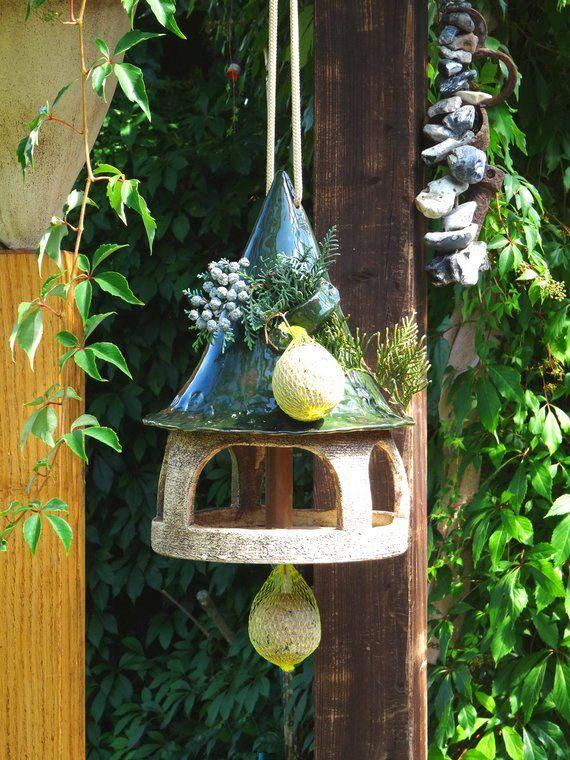 Vogelhaus Keramik, grün, Keramikvogelhaus zum stecken, stellen oder hängen, Home Sweet Home, Einweihungsgeschenk, Keramik handgemacht #birdhouses