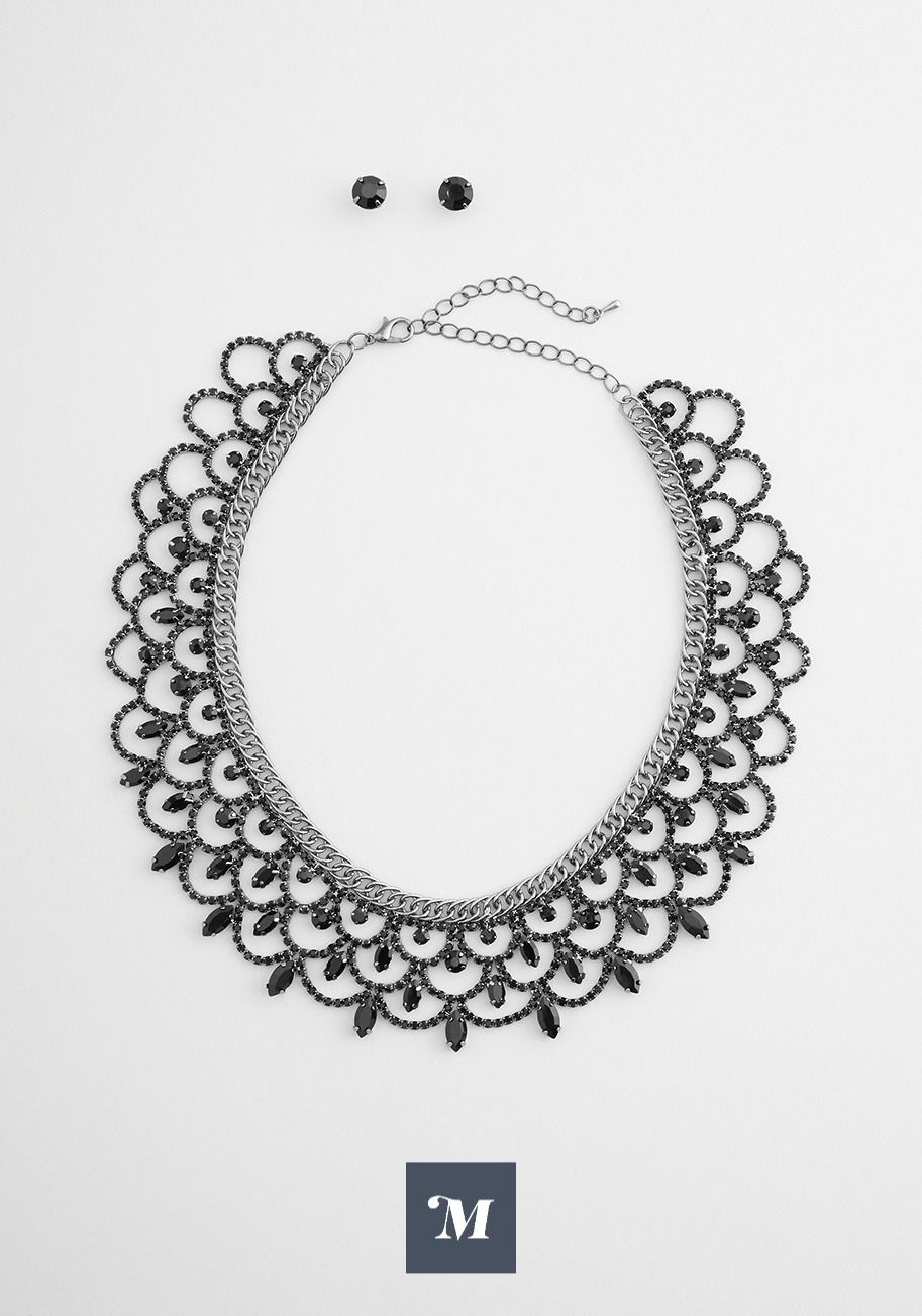Under the Midnight Sea Scalloped Necklace and Earr