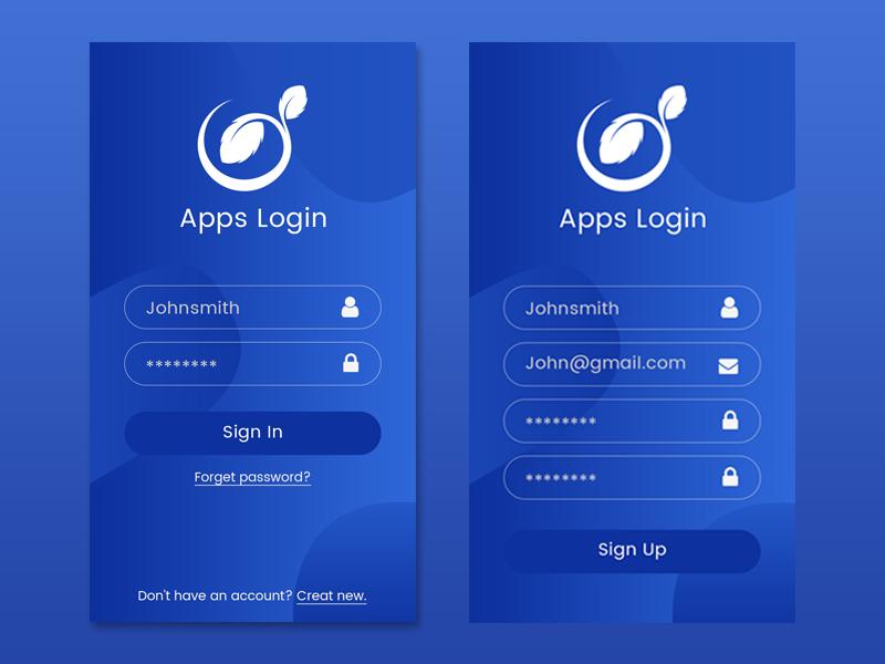 Apps Login Page Login page design, Android app design