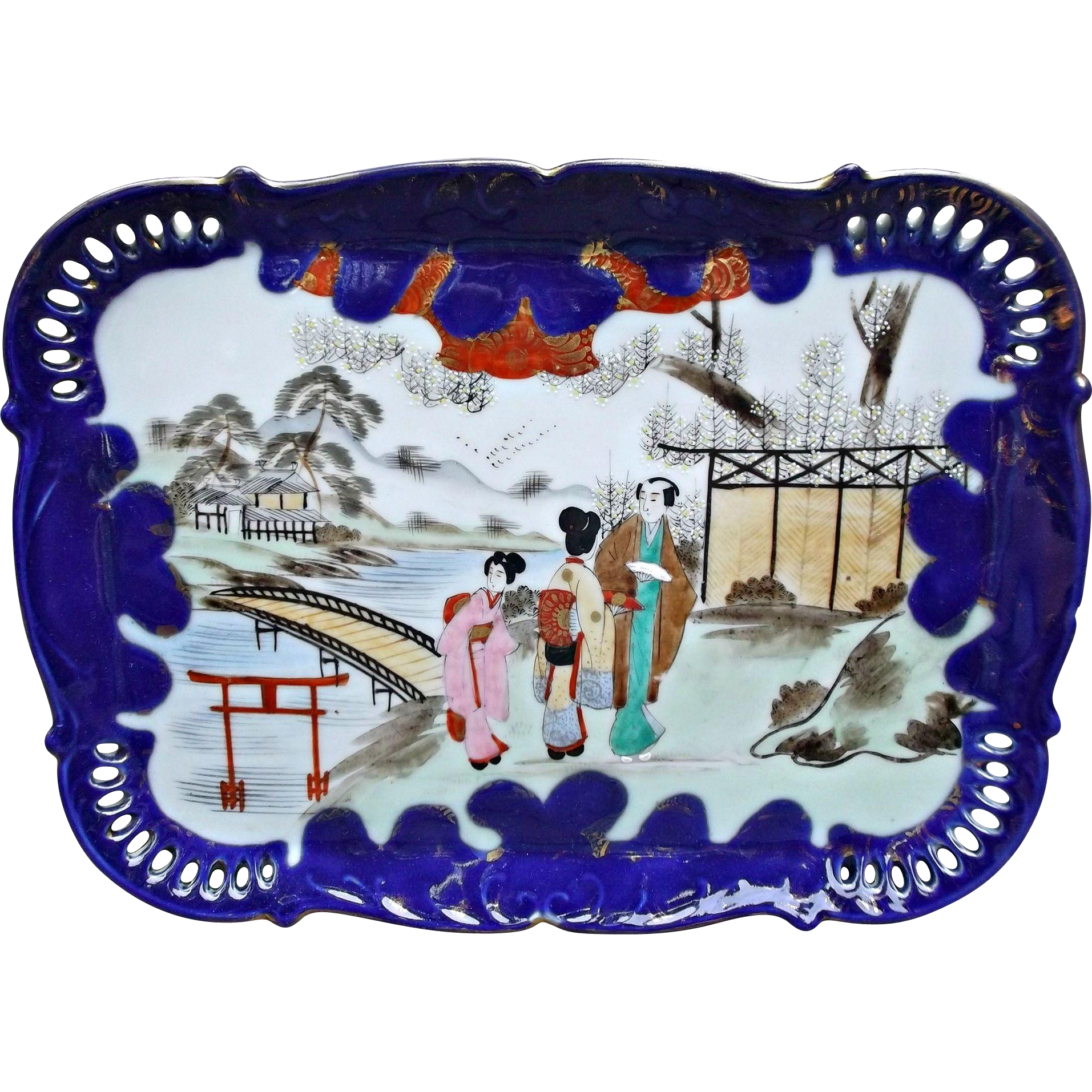 Porcelain geisha girl cobalt tray vintage vanity gold gilt cobalt