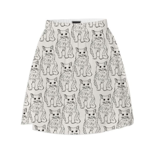 Cat Obsession Summer Skirt (€65) ❤ liked on Polyvore featuring skirts, cat print skirt, cat skirt, summer skirts and knee length summer skirts