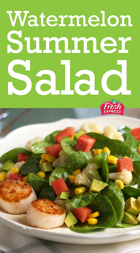 Seared scallops, roasted cauliflower, sweet corn, smooth avocado, and juicy watermelon combine for a delicious summer salad on a bed of crunchy Fresh Express Baby Spinach. A perfect better-for-you option at barbecues and picnics!