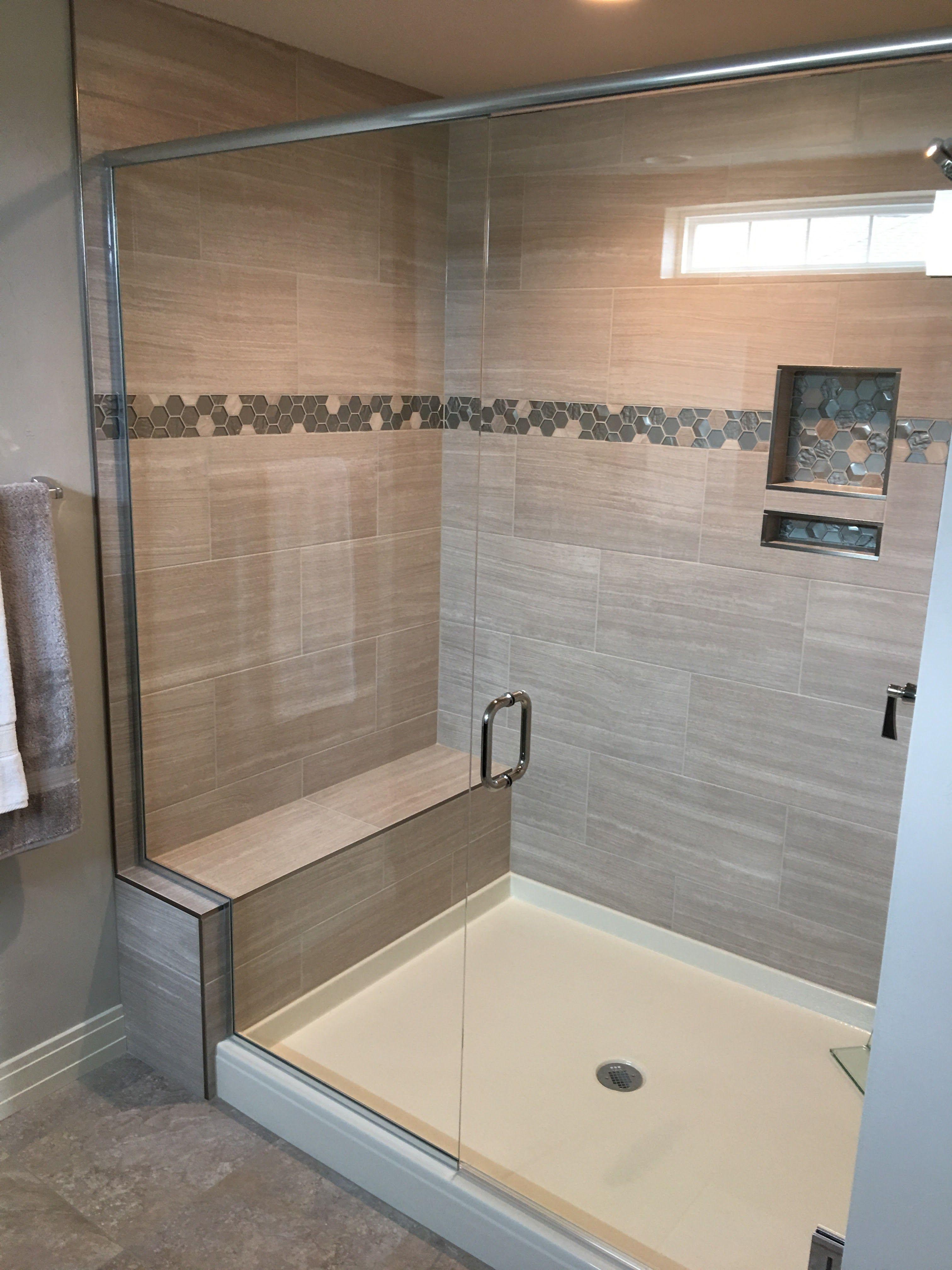 Custom Heavy Glass Shower Door And Notched Panel Shower Doors