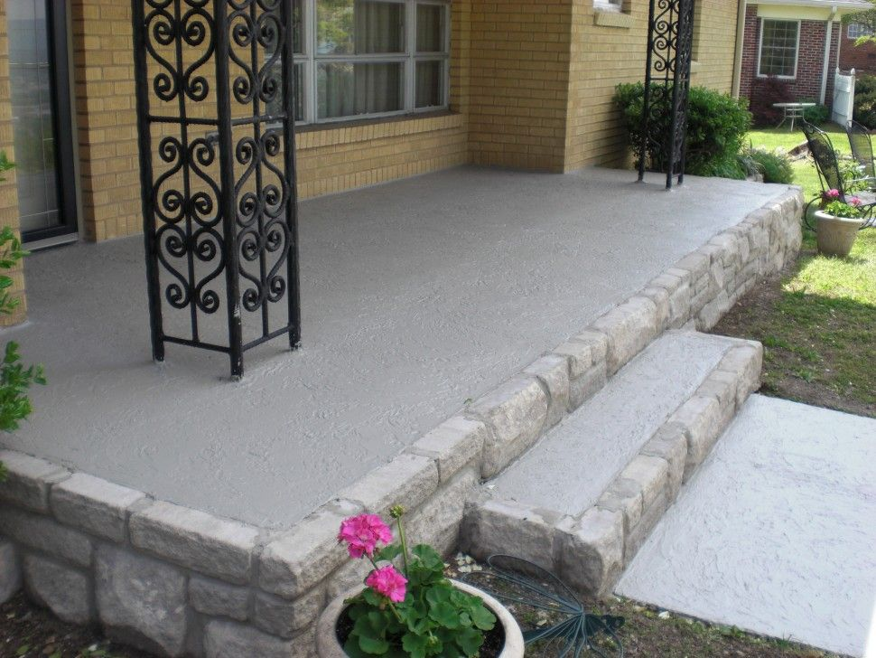 Exteriors : Epoxy Pebble Patio Front Porch Light Grey Concrete .