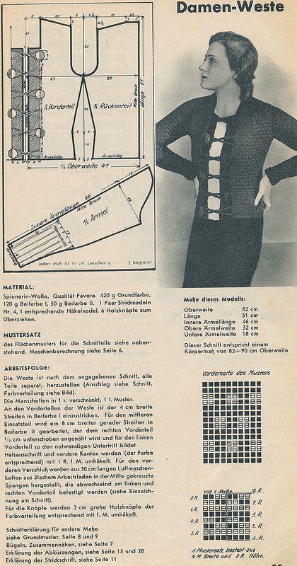 free vintage knitting pattern : Spinnerin-Lehrbuch, 1930er | craft ...