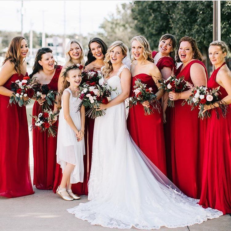 Radiant in red! This bright red bridal party is stunning
